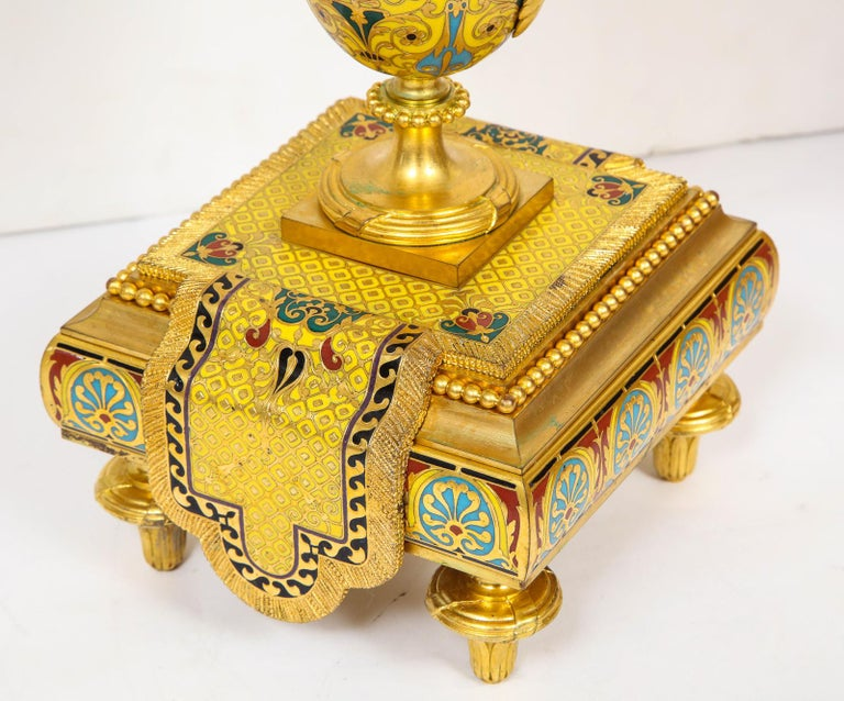 Ferdinand Barbedienne, Museum Quality French Ormolu Champleve Enamel Clock Set For Sale 14
