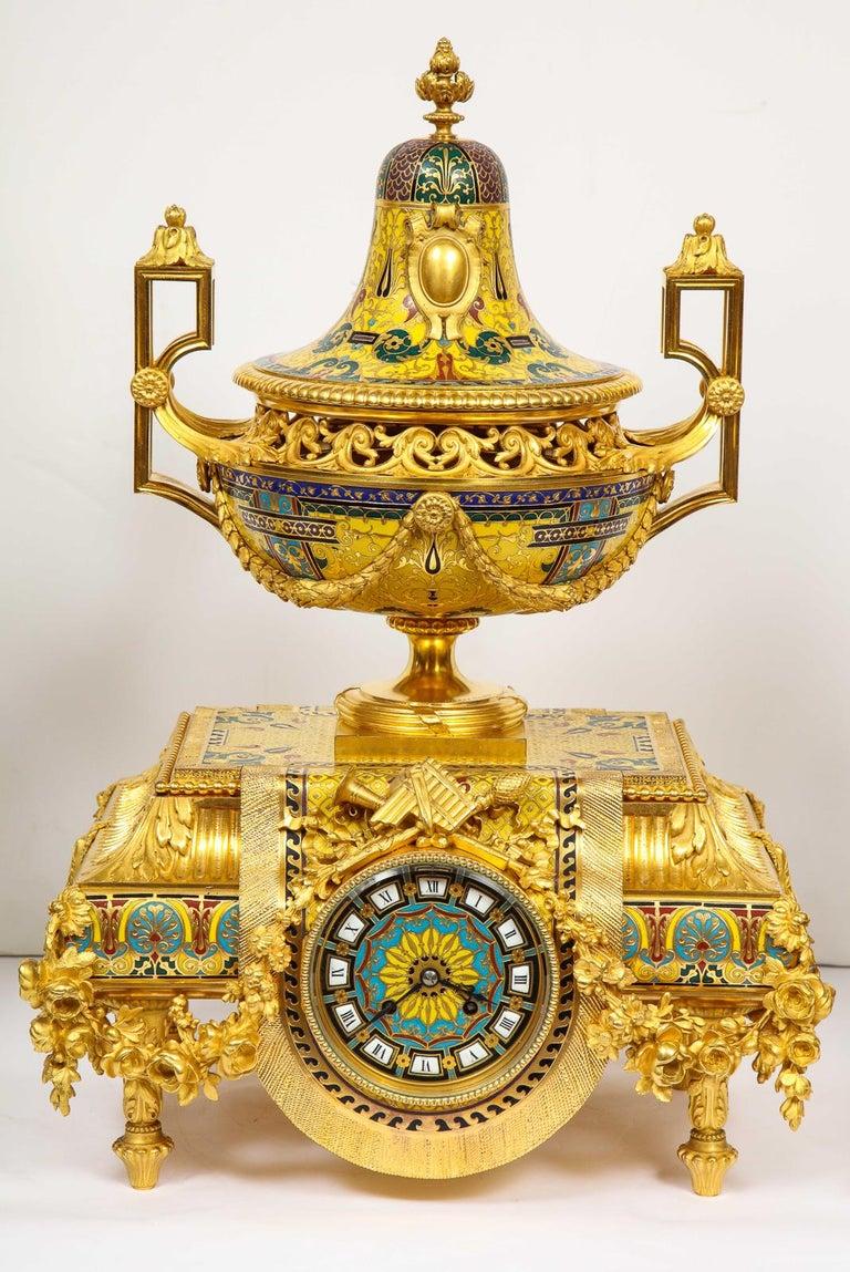 Napoleon III Ferdinand Barbedienne, Museum Quality French Ormolu Champleve Enamel Clock Set For Sale