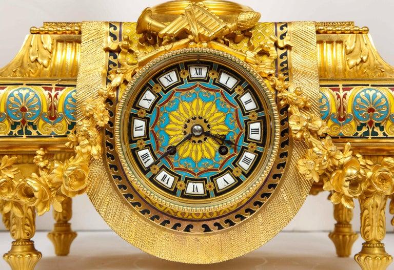 Ferdinand Barbedienne, Museum Quality French Ormolu Champleve Enamel Clock Set For Sale 1