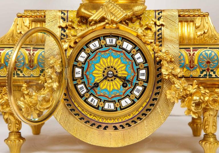 Ferdinand Barbedienne, Museum Quality French Ormolu Champleve Enamel Clock Set For Sale 2