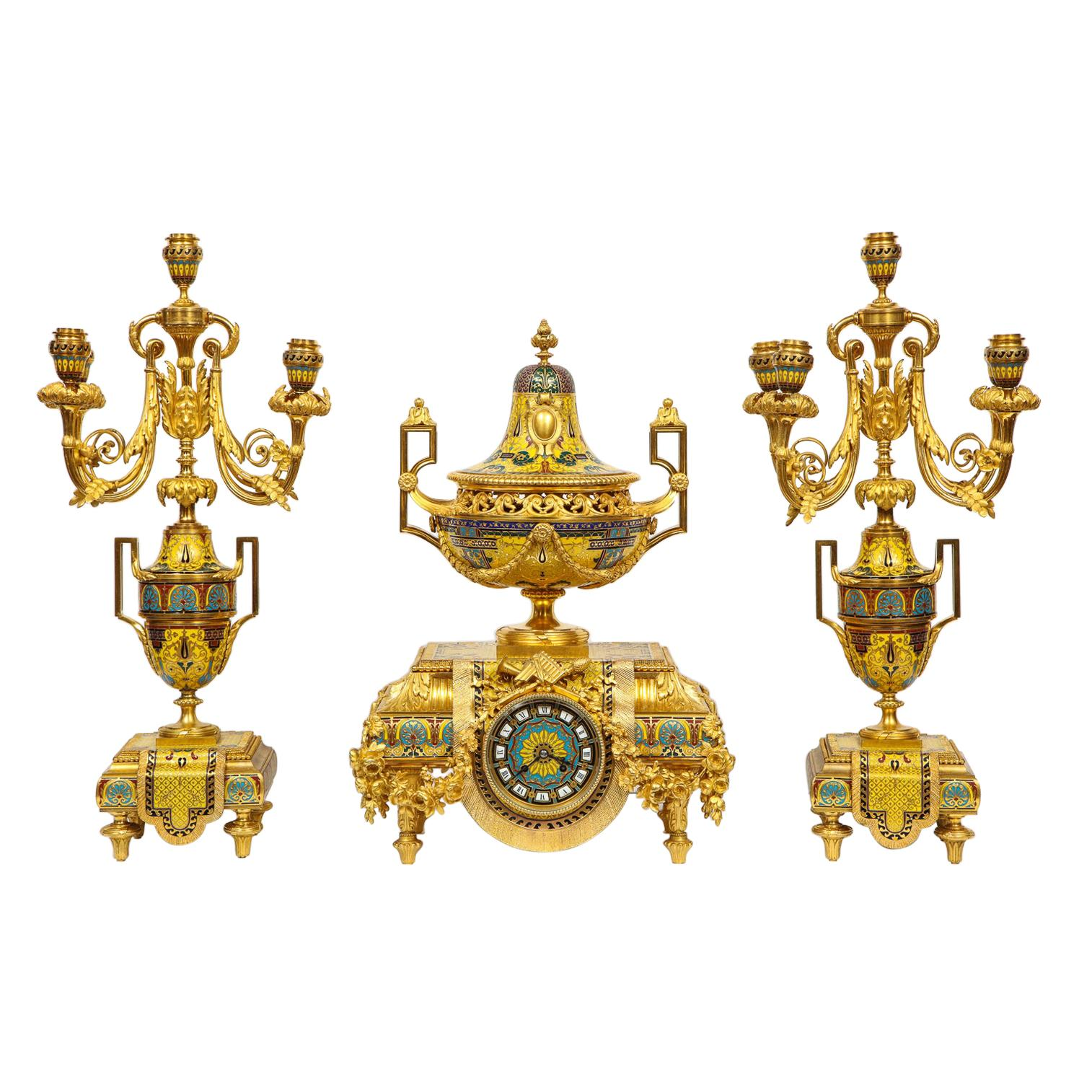 Ferdinand Barbedienne, Museum Quality French Ormolu Champleve Enamel Clock Set