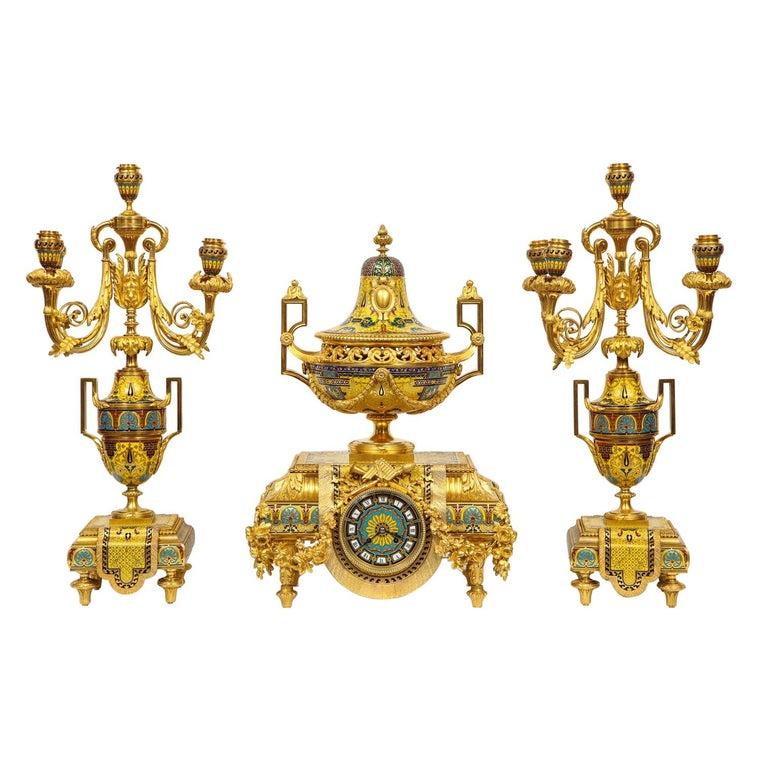Ferdinand Barbedienne, Museum Quality French Ormolu Champleve Enamel Clock Set For Sale