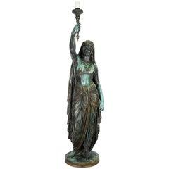 "Emile Guillemin Bronze Sculpture Torchiere Lamp ""Femme Indienne"" Barbedienne"