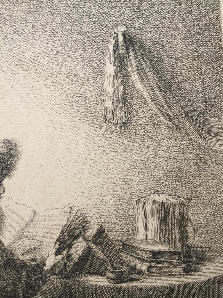 (PHILOSOPHER READING) - Brown Figurative Print by Ferdinand Bol
