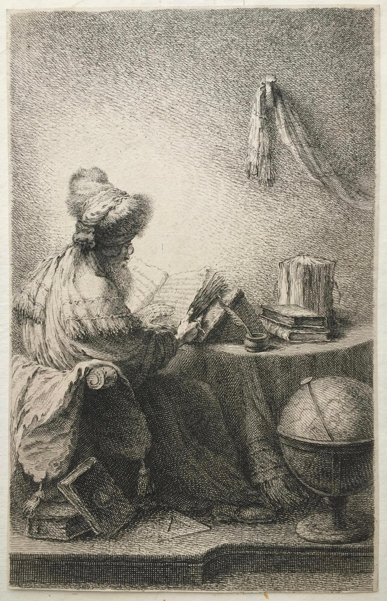 Ferdinand Bol Figurative Print - (PHILOSOPHER READING)