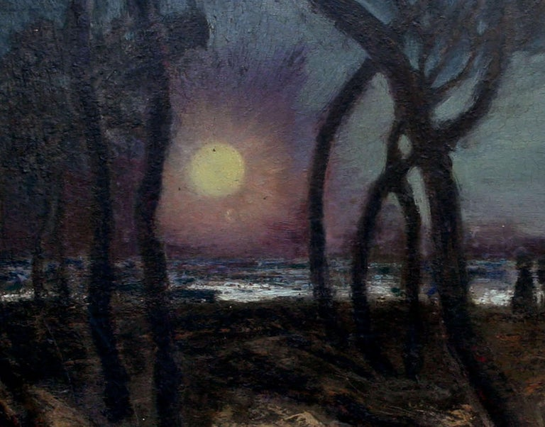 Mid Century Pacific Grove Moonlight Nocturnal Landscape - Black Landscape Painting by Ferdinand Burgdorff