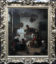 Chaos in the School Room - Flemish 19th century art interior genre oil painting