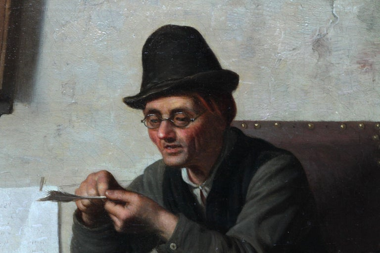 The School Room - Flemish 19th century art interior genre oil painting children For Sale 5