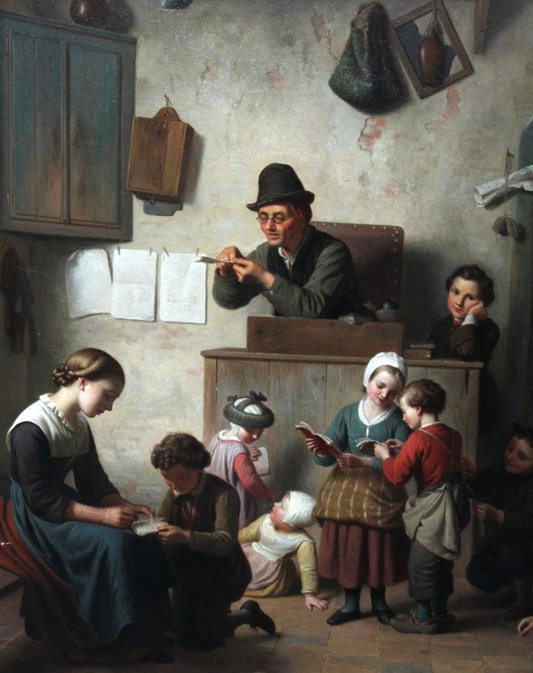 The School Room - Flemish 19th century art interior genre oil painting children - Black Interior Painting by Ferdinand de Braekeleer the Elder