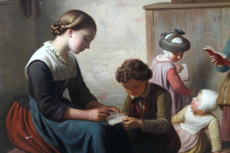 This charming Flemish genre oil painting is by Ferdinand de Braekeleer the Elder. Painted circa 1850 it is a fine realist genre scene of the interior of a school room, a topic Braekeleer favoured with similar paintings such as The Lesson, The Pupil