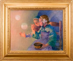 19th Century Impressionist painting, Female Children with Soap Bubbles