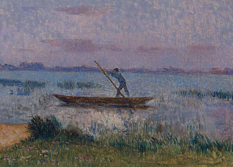 Crépuscule en Brière - Post Impressionist Oil, Seascape at Night - Du Puigaudeau - Painting by Ferdinand du Puigaudeau