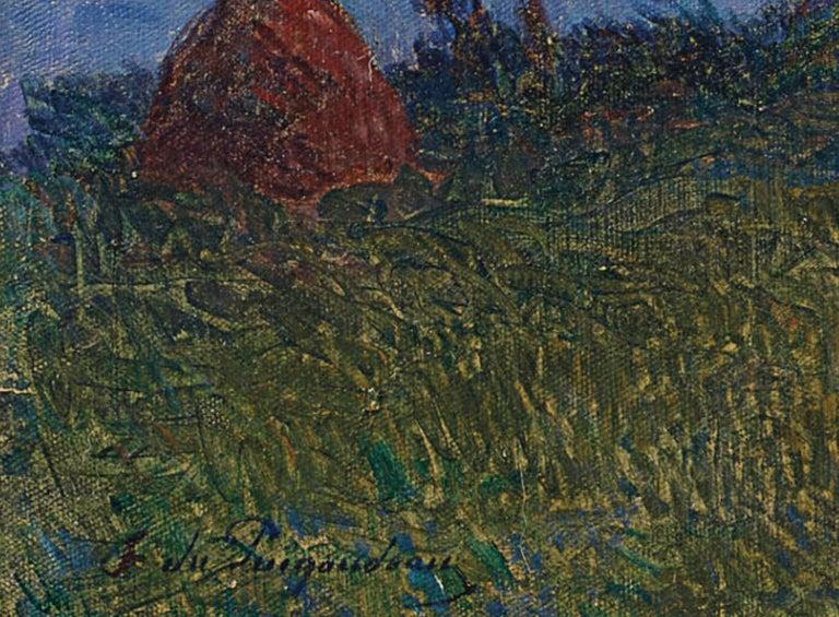 Crépuscule en Brière - Post Impressionist Oil, Seascape at Night - Du Puigaudeau - Post-Impressionist Painting by Ferdinand du Puigaudeau