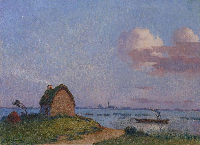 Ferdinand du Puigaudeau Figurative Painting - Crépuscule en Brière - Post Impressionist Oil, Seascape at Night - Du Puigaudeau