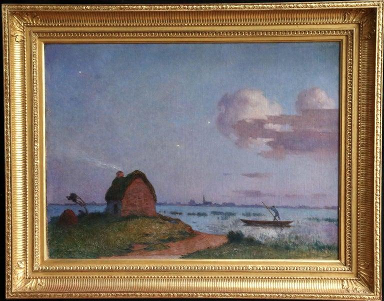 Crépuscule en Brière - Post Impressionist Oil, Seascape at Night - Du Puigaudeau - Gray Figurative Painting by Ferdinand du Puigaudeau