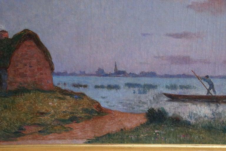 Crépuscule en Brière - Post Impressionist Oil, Seascape at Night - Du Puigaudeau For Sale 1