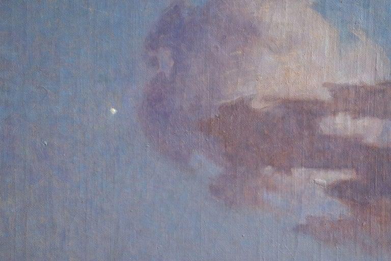 Crépuscule en Brière - Post Impressionist Oil, Seascape at Night - Du Puigaudeau For Sale 2