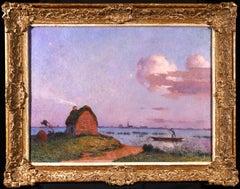 Crépuscule en Brière - Post Impressionist Oil, Seascape at Night - Du Puigaudeau