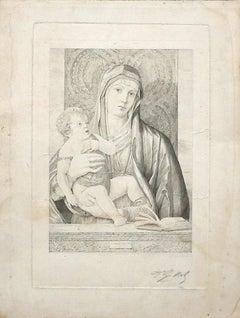 Madonna and Child - Original Bulino by Ferdinand Gaillard - 19th Century