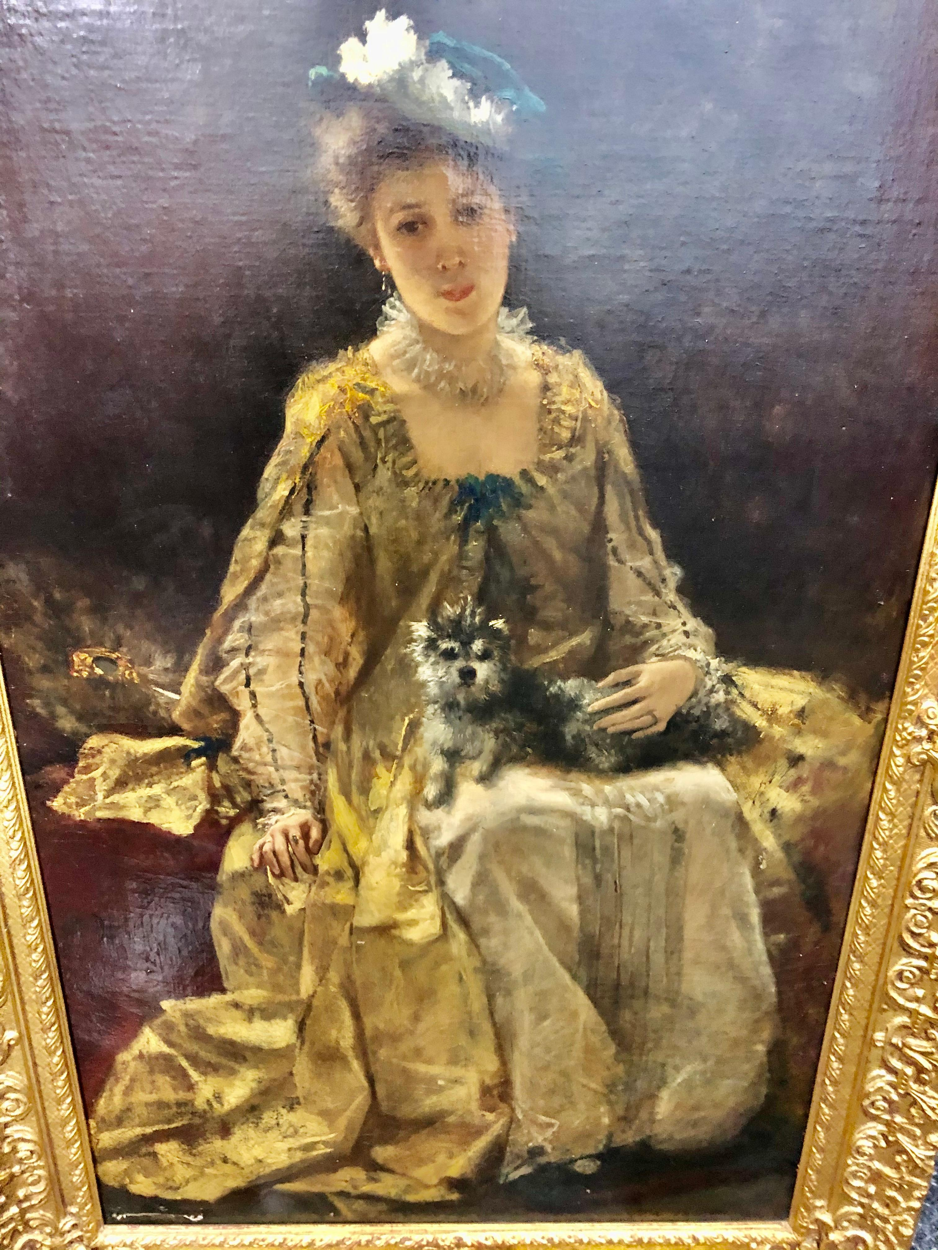 Ferdinand Heilbuth Lady and her Dog