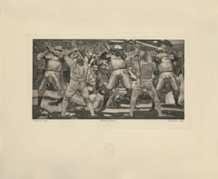 """Battle at Nafels"" Copper Plate Heliogravure"