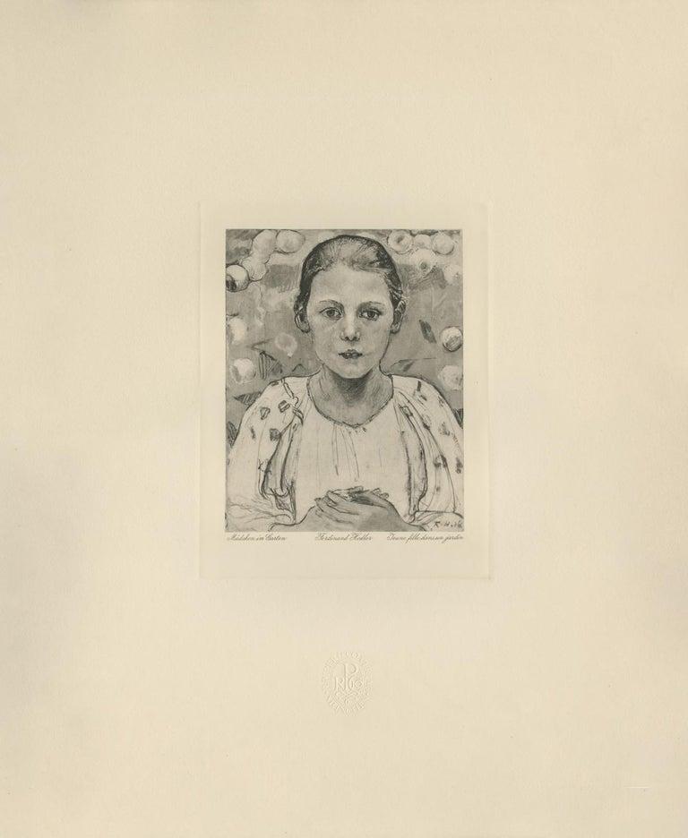 "Ferdinand Hodler & R. Piper & Co. Figurative Print - ""Girl in the Garden"" Copper Plate Heliogravure"