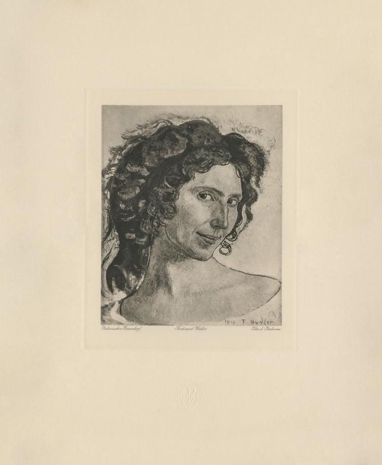 "Ferdinand Hodler & R. Piper & Co. Figurative Print - ""Head of an Italian Woman"" Copper Plate Heliogravure"