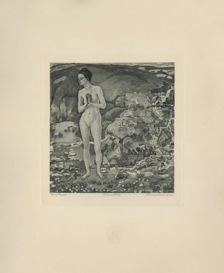 "Ferdinand Hodler & R. Piper & Co. Figurative Print - ""Woman at the River's Edge"" Copper Plate Heliogravure"