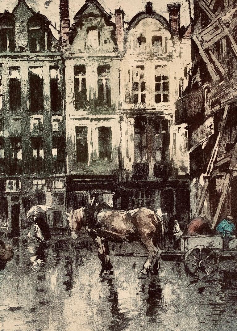Place Flamamde, Brussels - Beige Landscape Print by Ferdinand-Jean Luigini