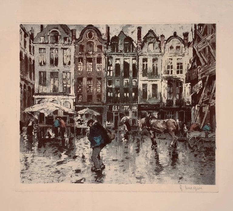 Ferdinand-Jean Luigini Landscape Print - Place Flamamde, Brussels