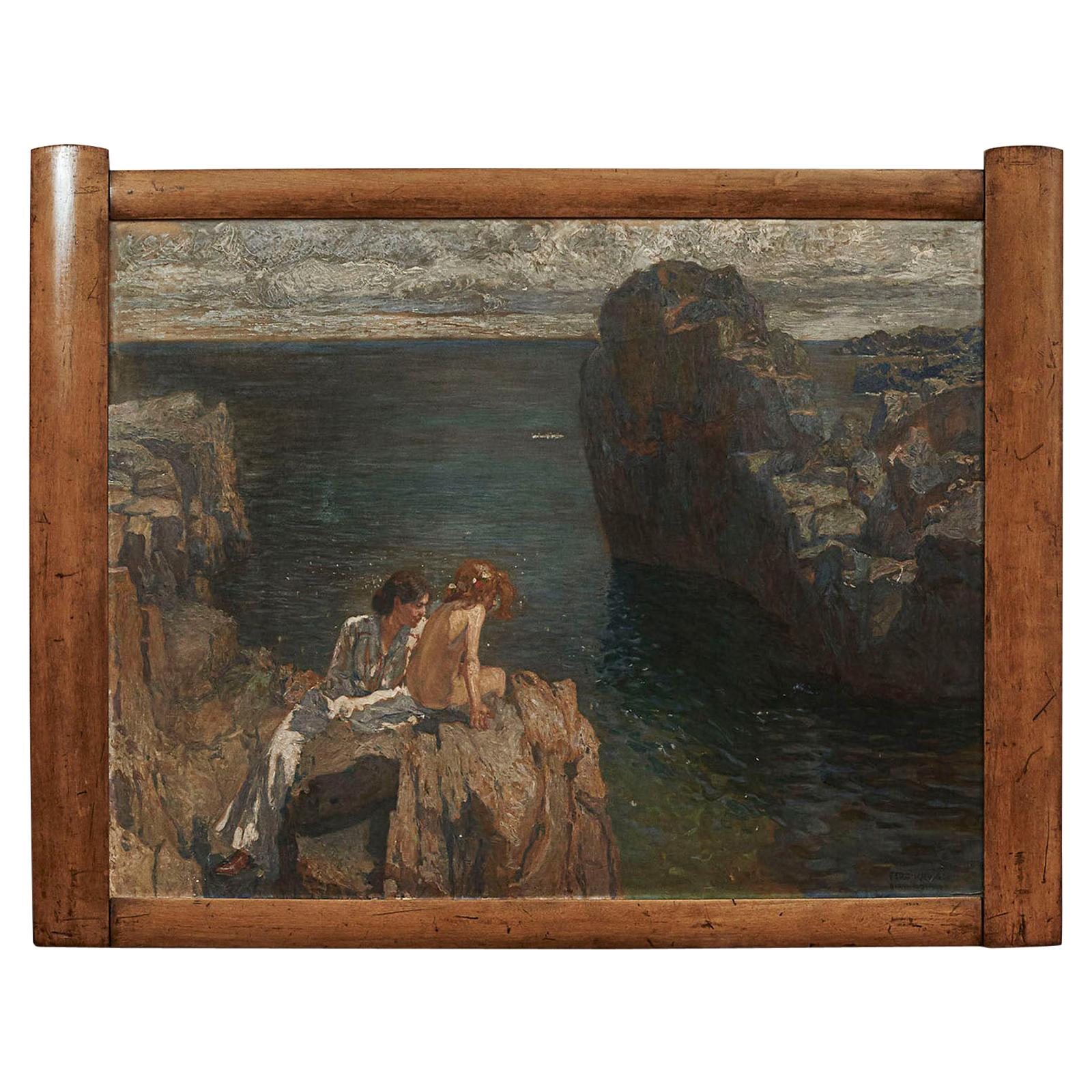 """Ferdinand Kruis: """"A Mother and Her Daughter Sitting in the Sun on the Rocks"""""""