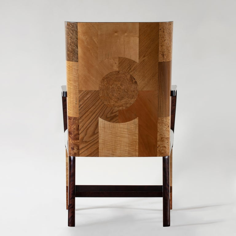 Art Deco Ferdinand Lundquist & Co., Large and Rare Swedish Specimen Wood Armchair For Sale