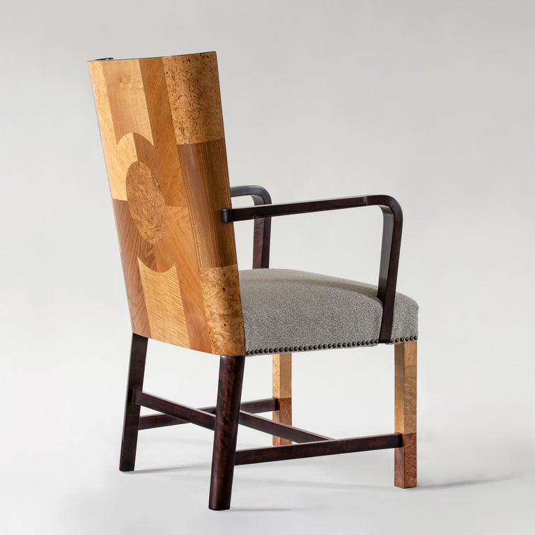 Ferdinand Lundquist & Co., Large and Rare Swedish Specimen Wood Armchair In Good Condition For Sale In Philadelphia, PA
