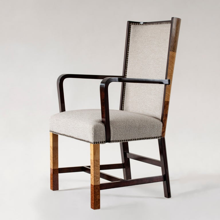 20th Century Ferdinand Lundquist & Co., Large and Rare Swedish Specimen Wood Armchair For Sale