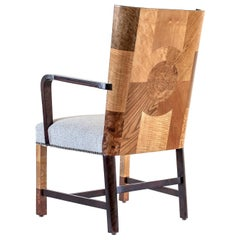 Ferdinand Lundquist & Co., Large and Rare Swedish Specimen Wood Armchair