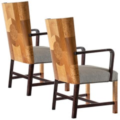 Ferdinand Lundquist & Co., Pair of Large & Rare Swedish Specimen Wood Armchairs