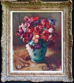 Fleurs sur une Table - Impressionist Oil, Still Life Flowers by Fernand Toussain