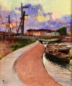 Sunset over the Harbour - Impressionist Oil, Boats in Landscape by F Toussain