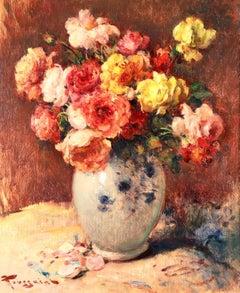 Vase of Roses - Post Impressionist Oil, Still Life of Flower - Fernand Toussaint