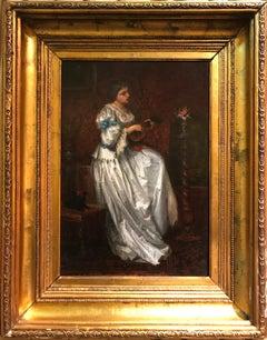Woman with mandolin, oil on panel. Ferdinand Roybet