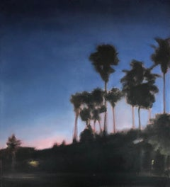 Waterman Palms No. 1, California, Palm Trees, Blue, Pink, Landscape, Trees