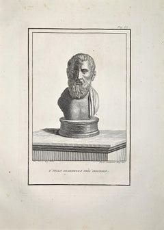 Ancient Roman Bust - Etching by Ferdinando Campana - Late 18 Century