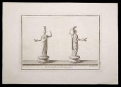 Ancient Roman Statue - Original Etching by Ferdinando Campana - 18th Century