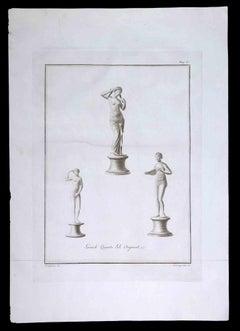 Ancient Roman Statues - Original Etching by Ferdinando Campana - 1700s