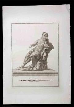 Dionysus, Ancient Roman Statue - Etching by Ferdinando Campana - 18th Century
