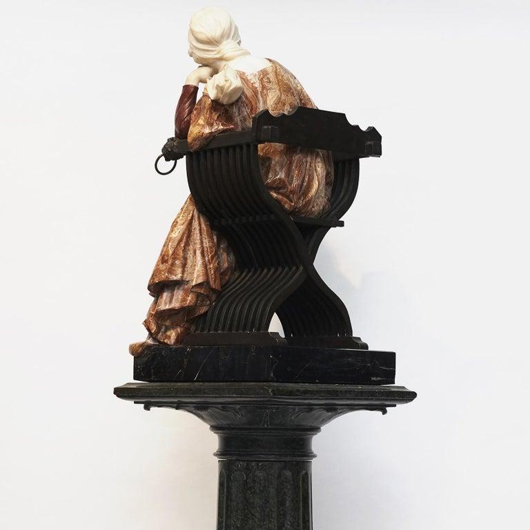 Ferdinando Vichi Marble Sculpture Sitting Woman For Sale 3