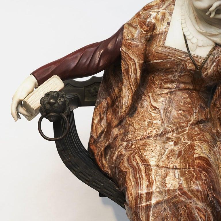 Ferdinando Vichi Marble Sculpture Sitting Woman For Sale 4