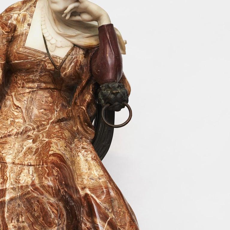 Ferdinando Vichi Marble Sculpture Sitting Woman For Sale 5