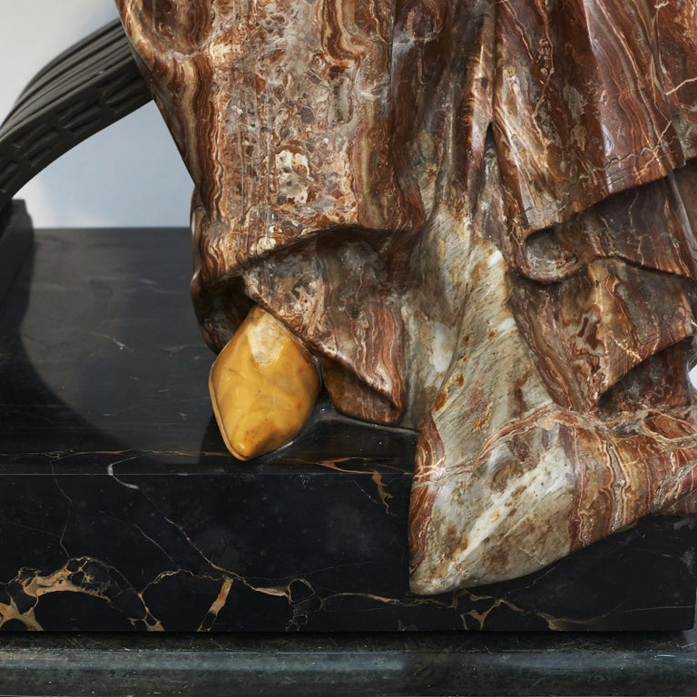 Ferdinando Vichi Marble Sculpture Sitting Woman For Sale 6