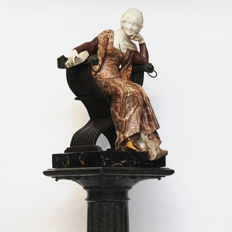 Renaissance Ferdinando Vichi Marble Sculpture Sitting Woman For Sale